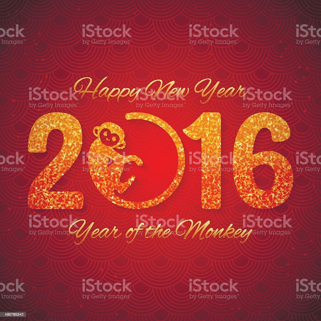 New Year postcard with golden text, monkey 2016 vector art illustration
