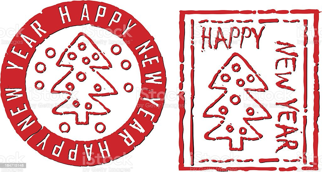 New Year poststamps royalty-free stock vector art