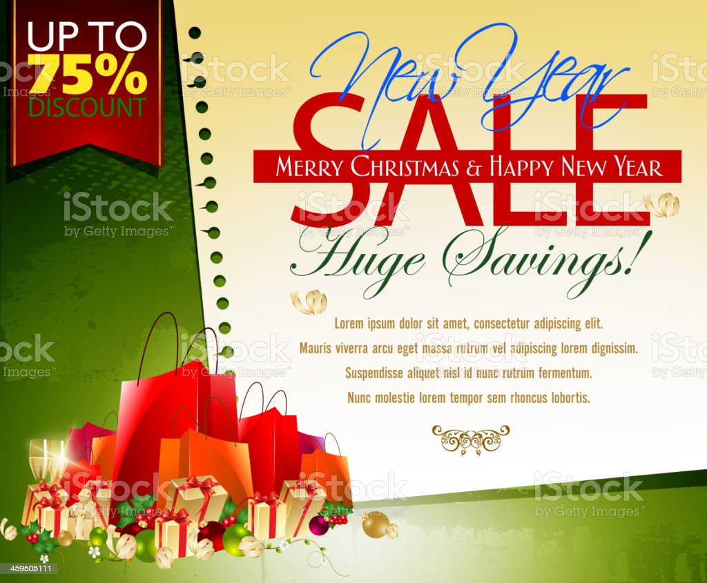 New Year Sales Promotion Background royalty-free stock vector art