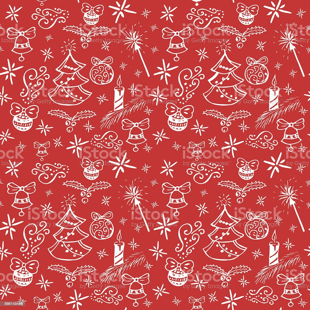 New year seamless hand drawn doodle pattern vector art illustration