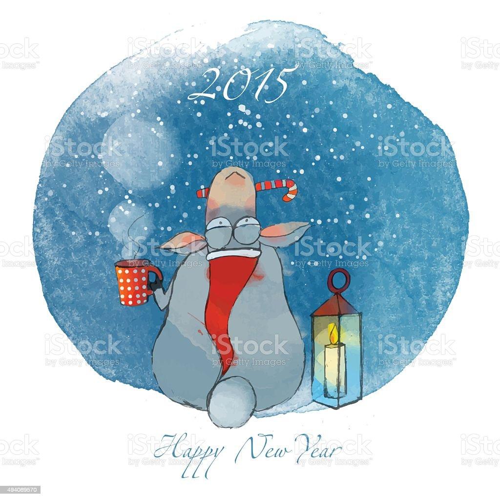 New Year Sheep 2015 vector art illustration