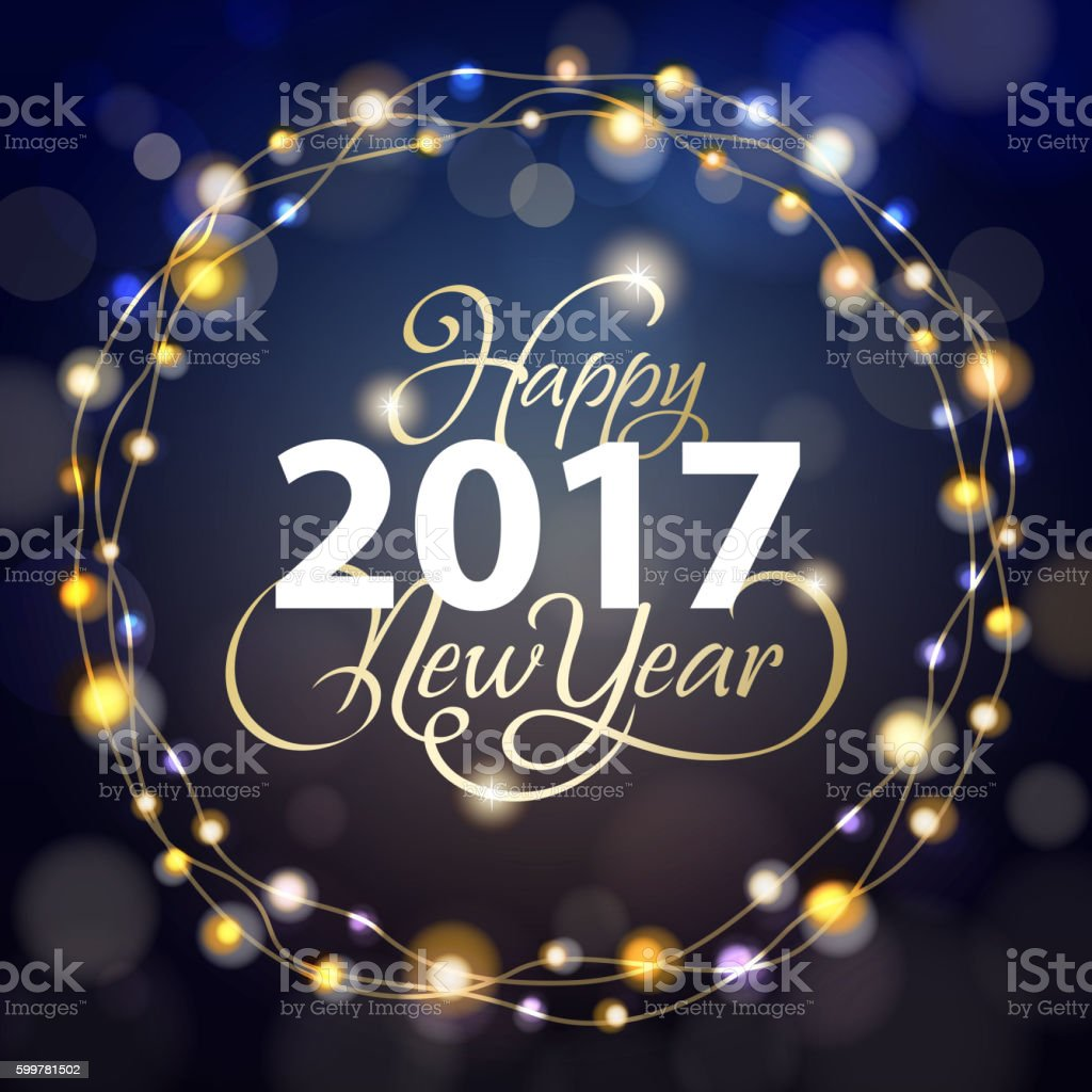 New Year Sparkling 2017 vector art illustration