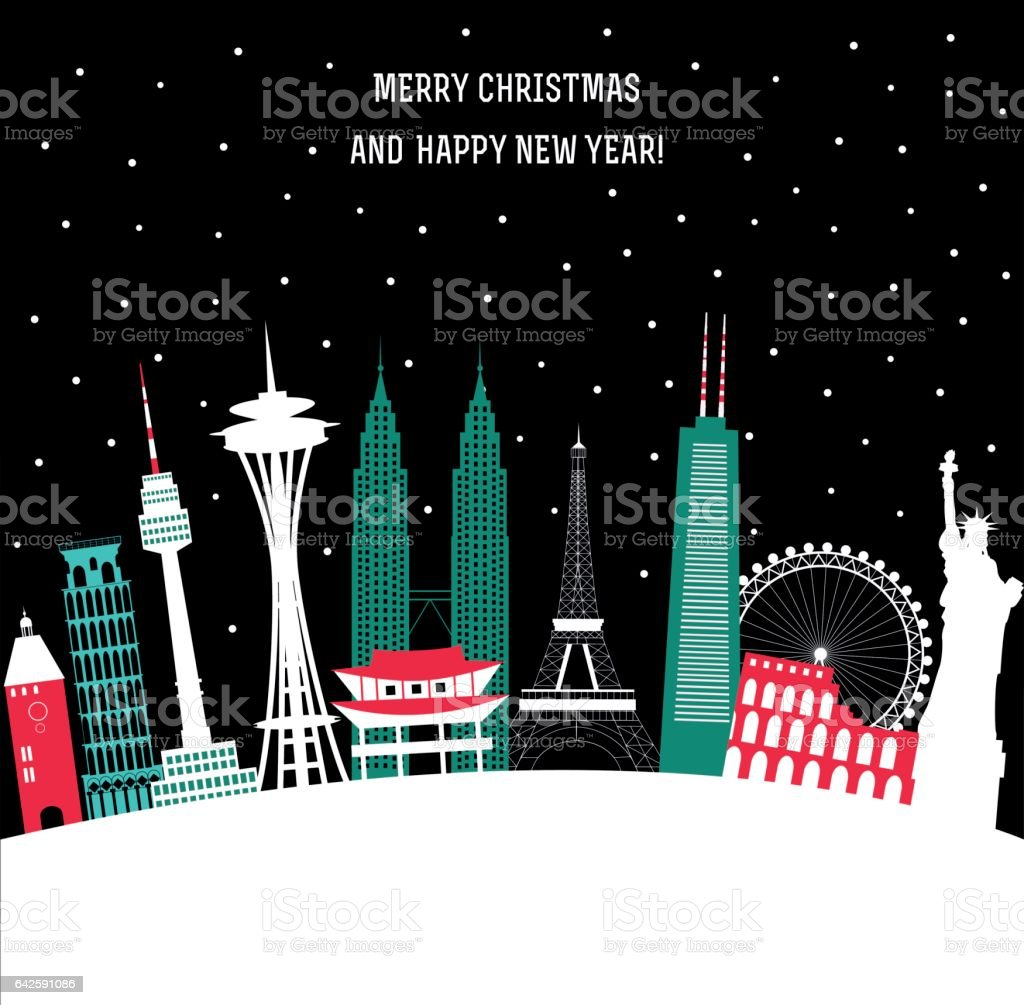 New Year Travel background vector art illustration