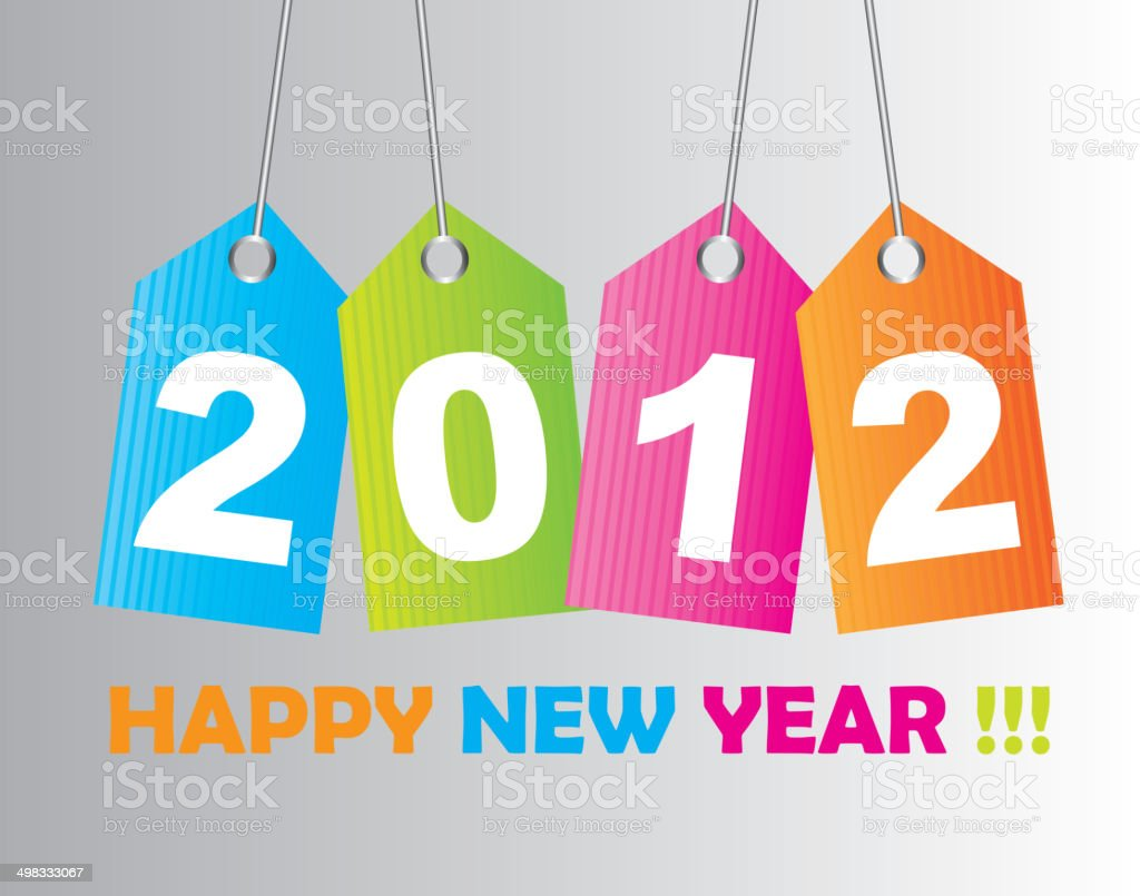 2012 new year vector art illustration