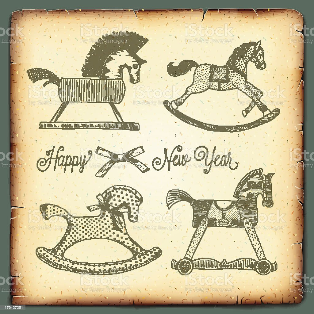 New Year vintage card with rocking toys horses vector art illustration