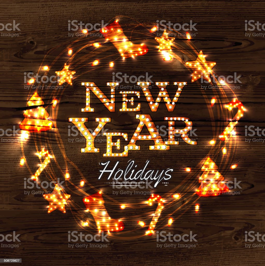 New year wreath garland poster royalty-free stock vector art