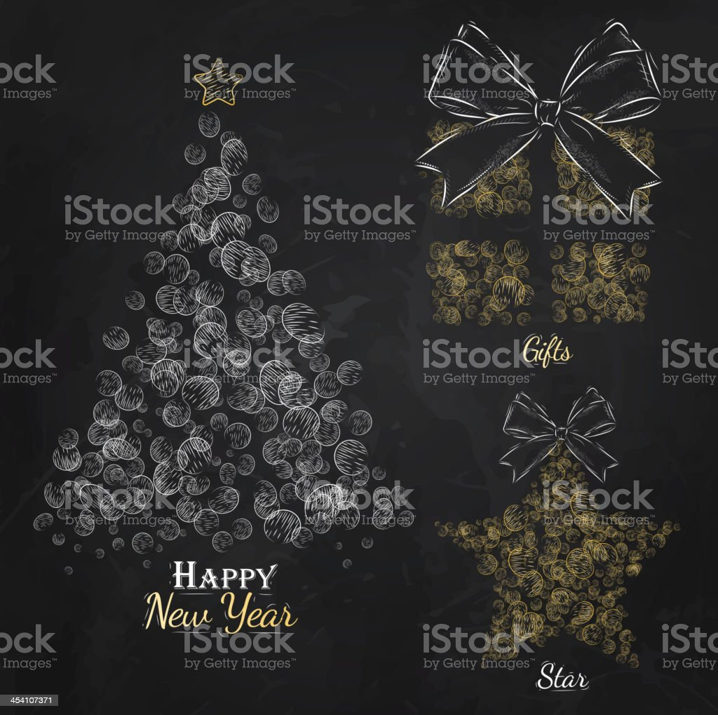 New Yearcollection of Christmas tree,star, gift gold royalty-free stock vector art