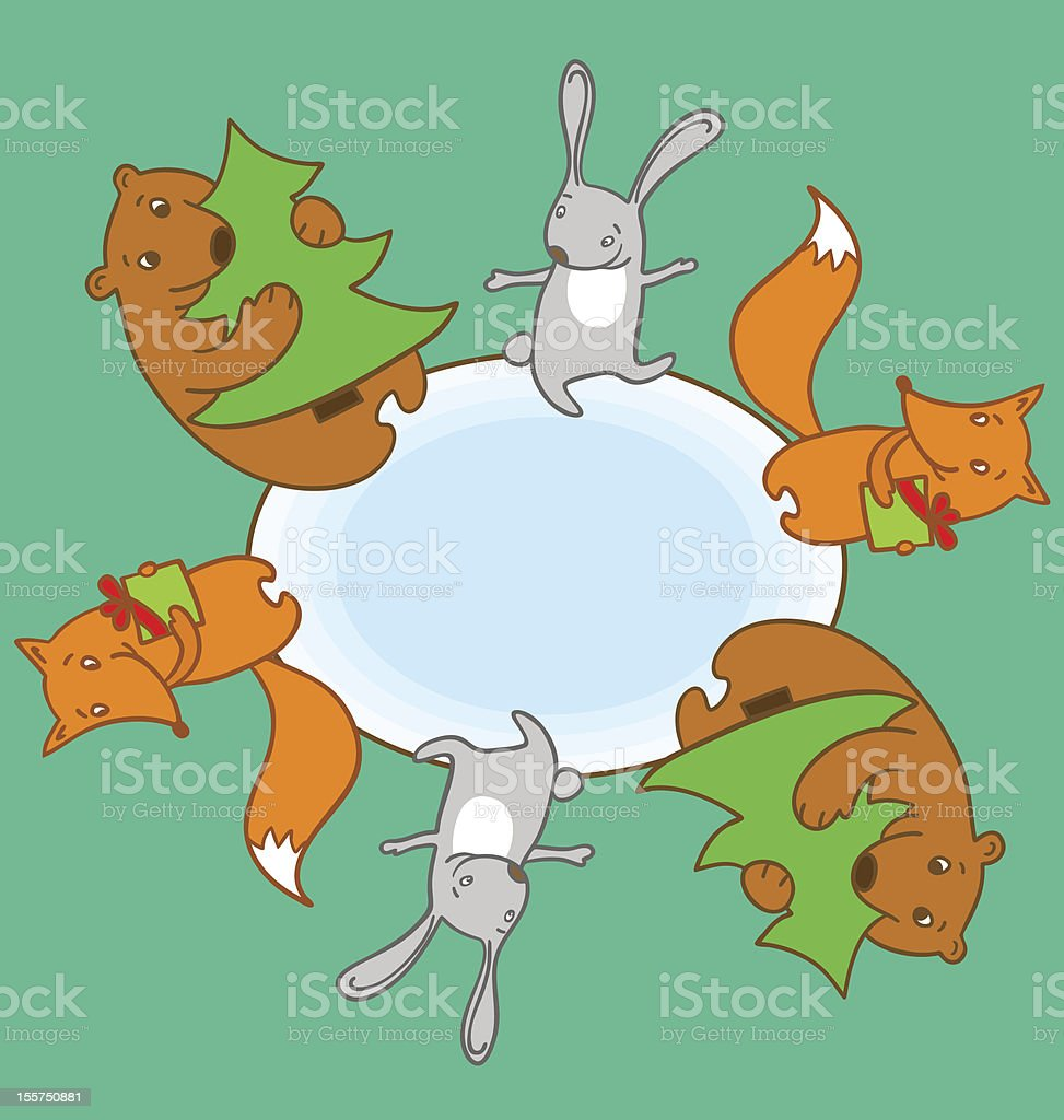 New Year`s animals frame royalty-free stock vector art