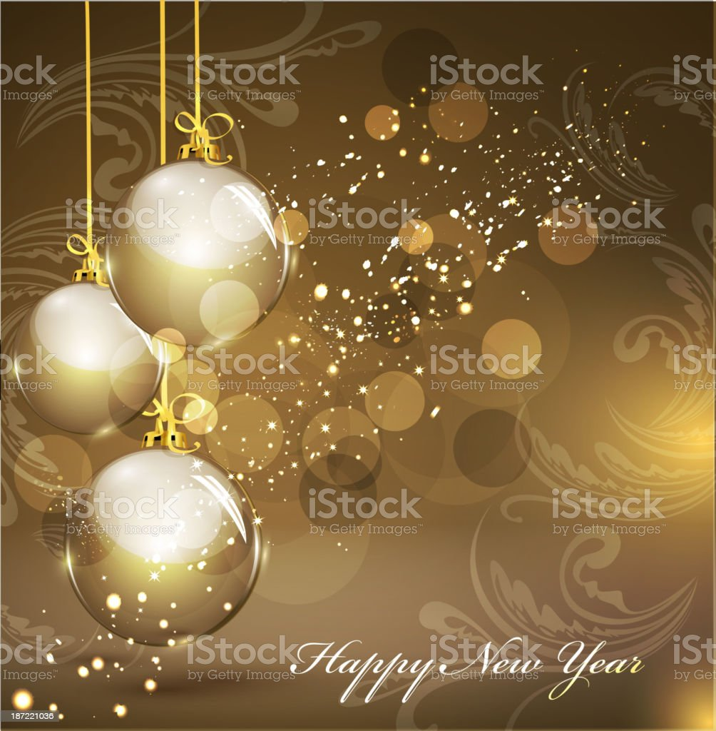 New Year's background with gold balls royalty-free stock vector art
