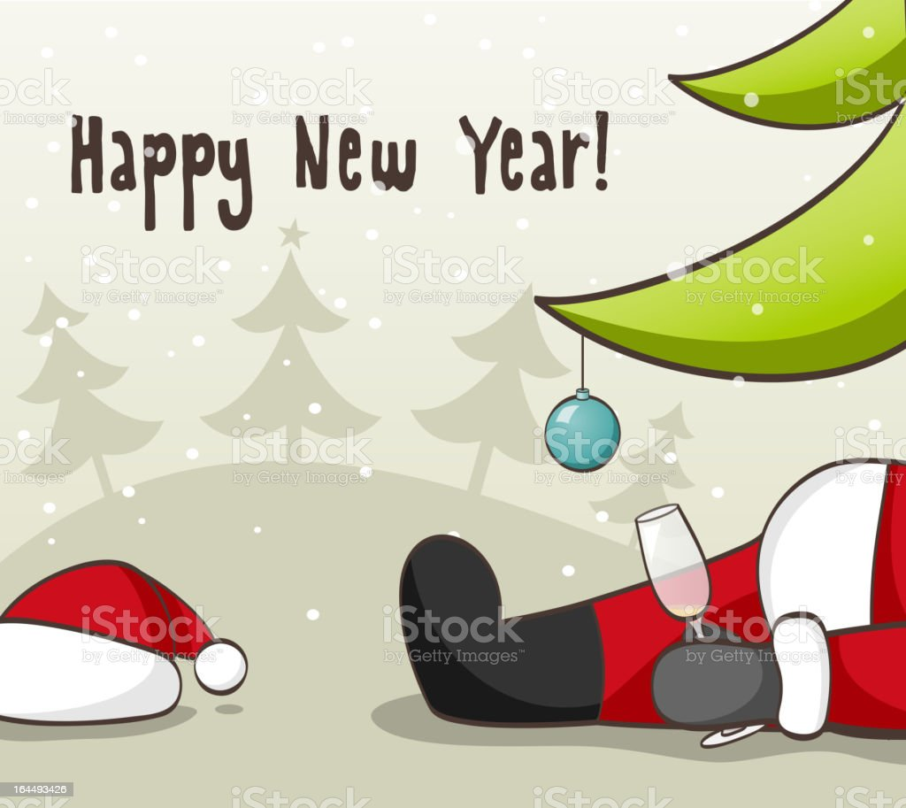 New Year's card of Santa drunk under tree with empty glass vector art illustration