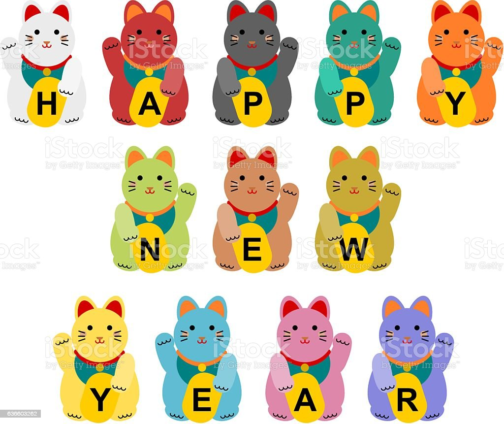 New Year's card of the beckoning cat vector art illustration
