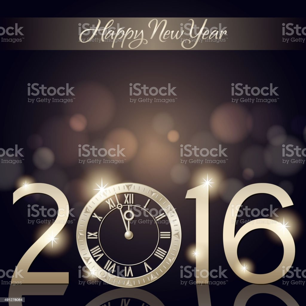 New Year's countdown 2016 vector art illustration