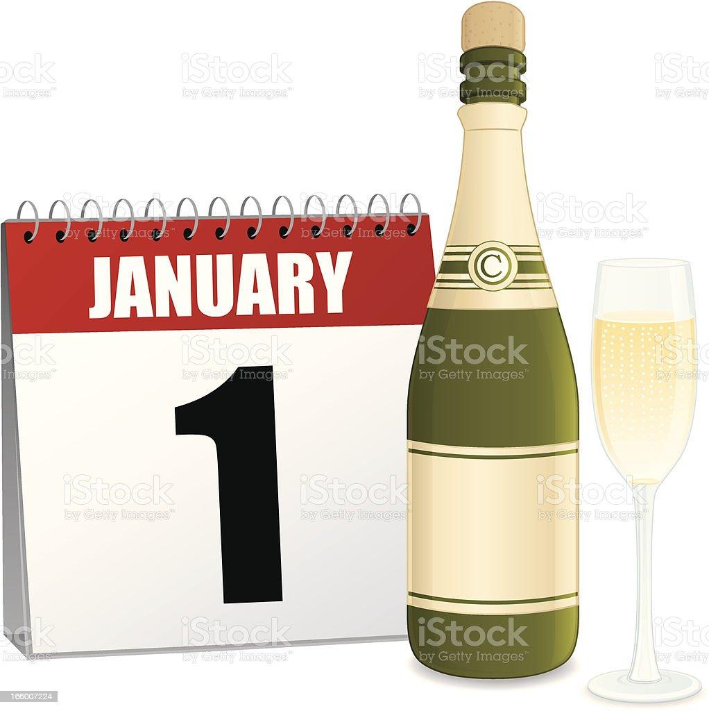 New Year's Day Calendar royalty-free stock vector art
