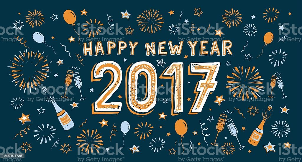 New Year's doodle card vector art illustration