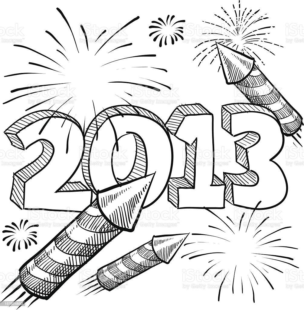 New Year's Eve 2013 fireworks sketch vector art illustration