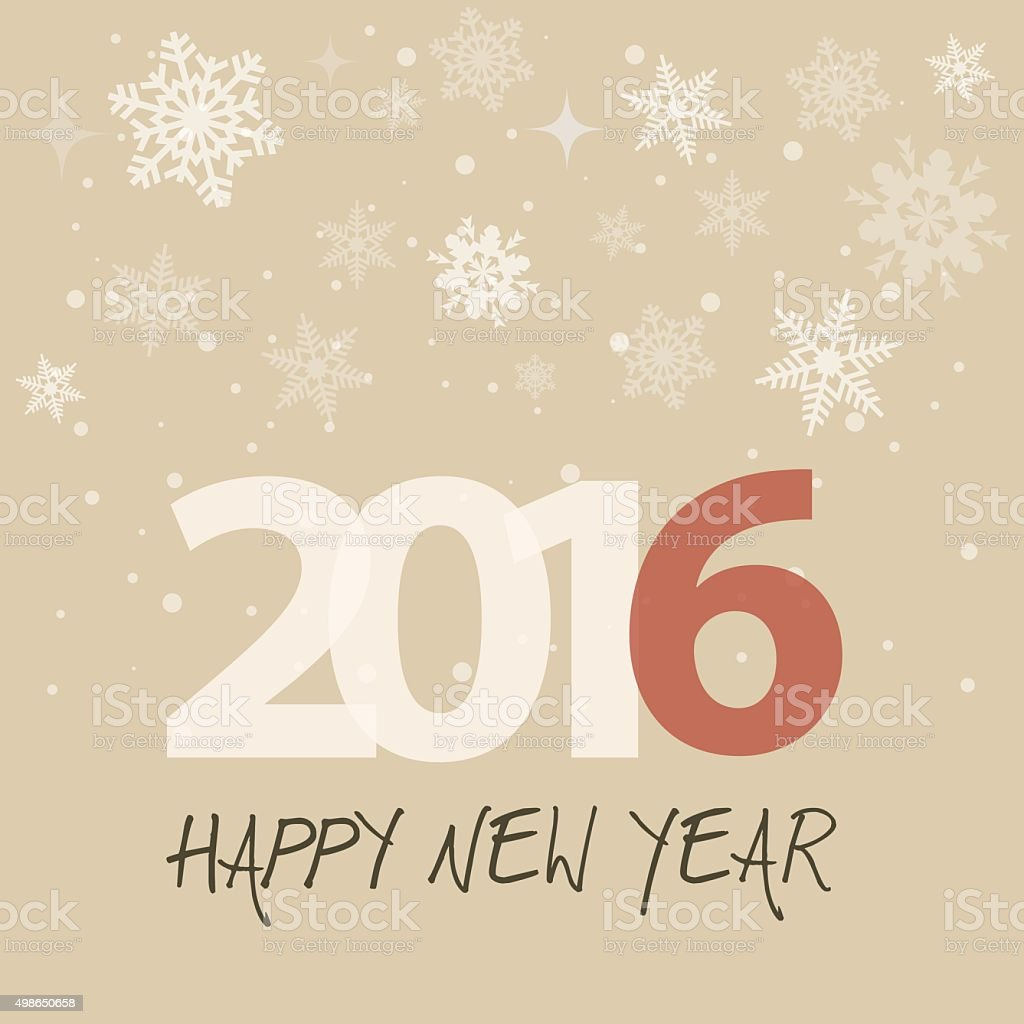 New year's eve 2016 on retro brown background with snow vector art illustration