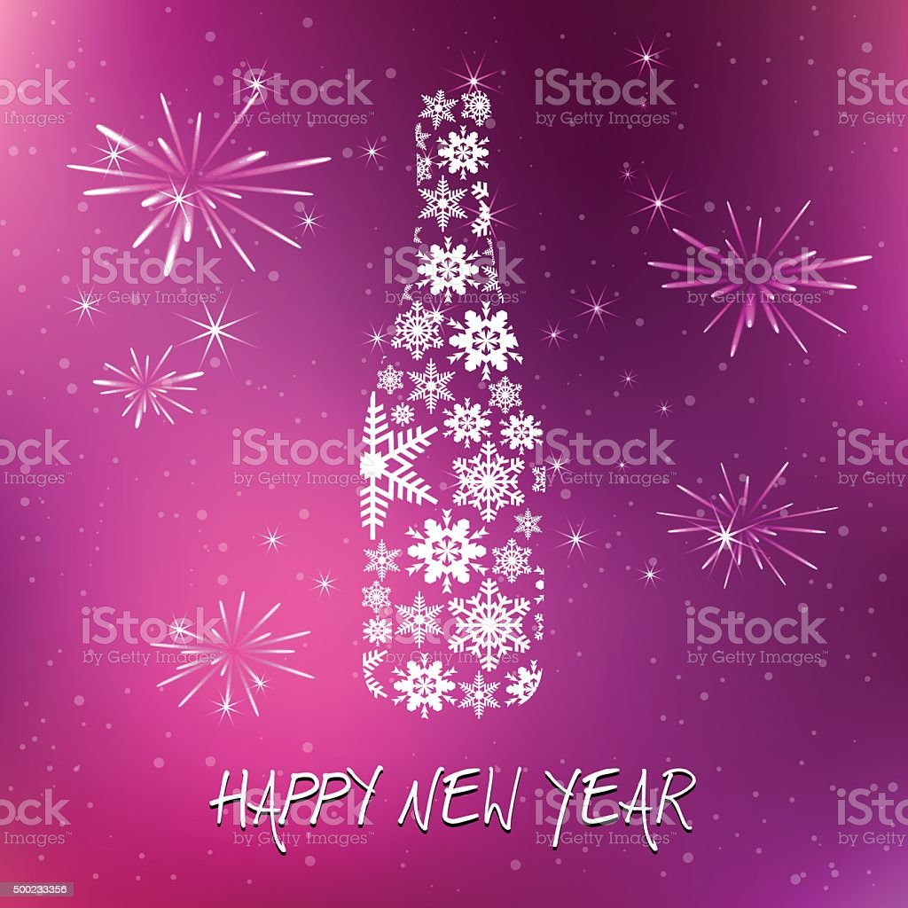 New year's eve champagne bottle on purple background vector art illustration