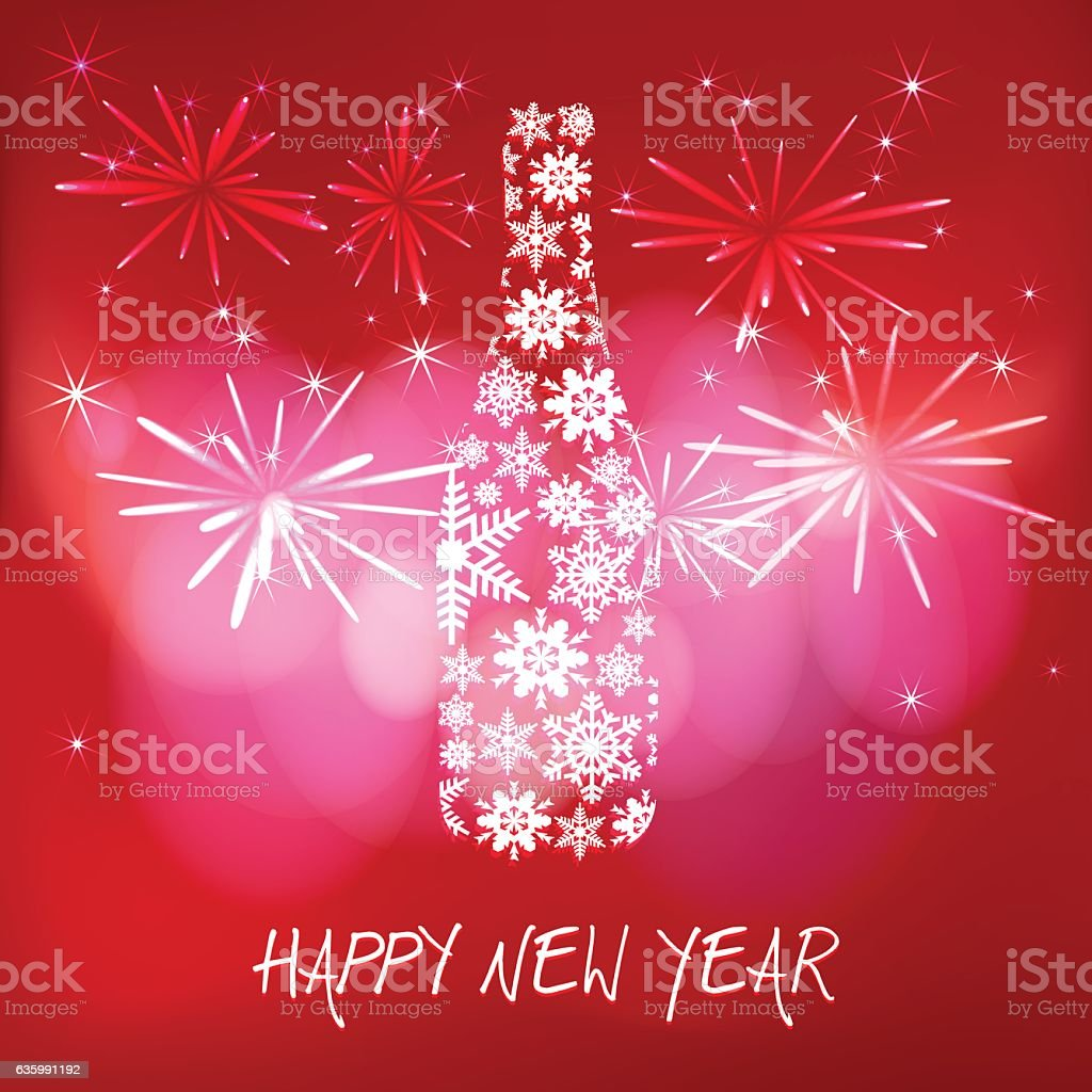 New year's eve champagne bottle on red fireworks background vector art illustration