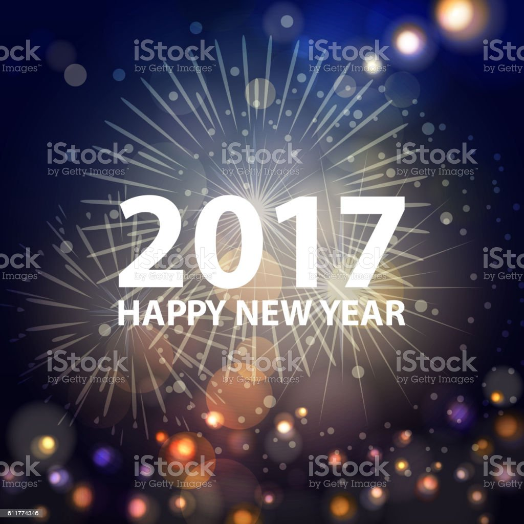 New Year's Eve Fireworks 2017 vector art illustration