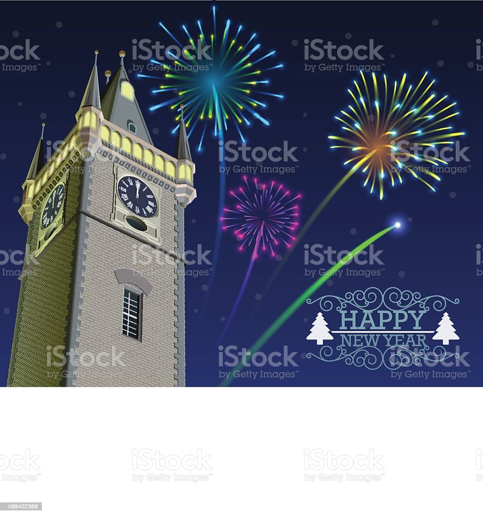 New Year's Eve fireworks above the clock tower vector art illustration