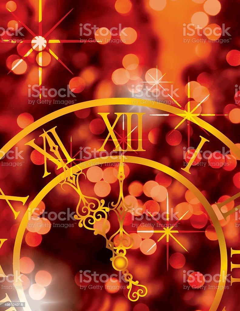 New Years Eve Party Background With Clock and Champagne vector art illustration
