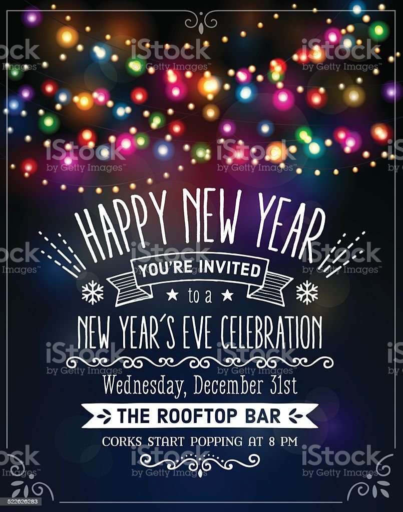 New Year's Eve Party Invitation with Text vector art illustration