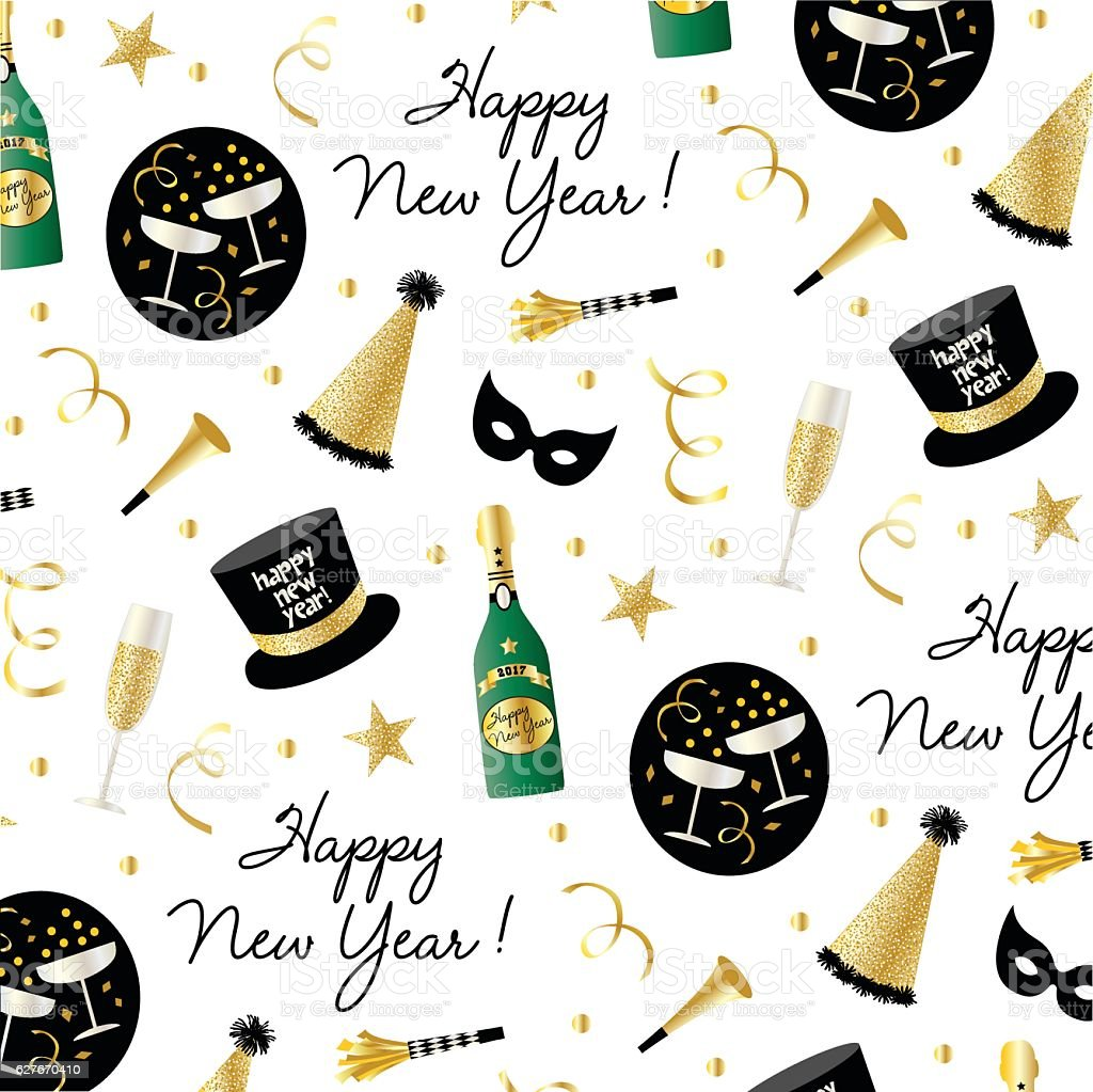 new year's eve pattern vector art illustration