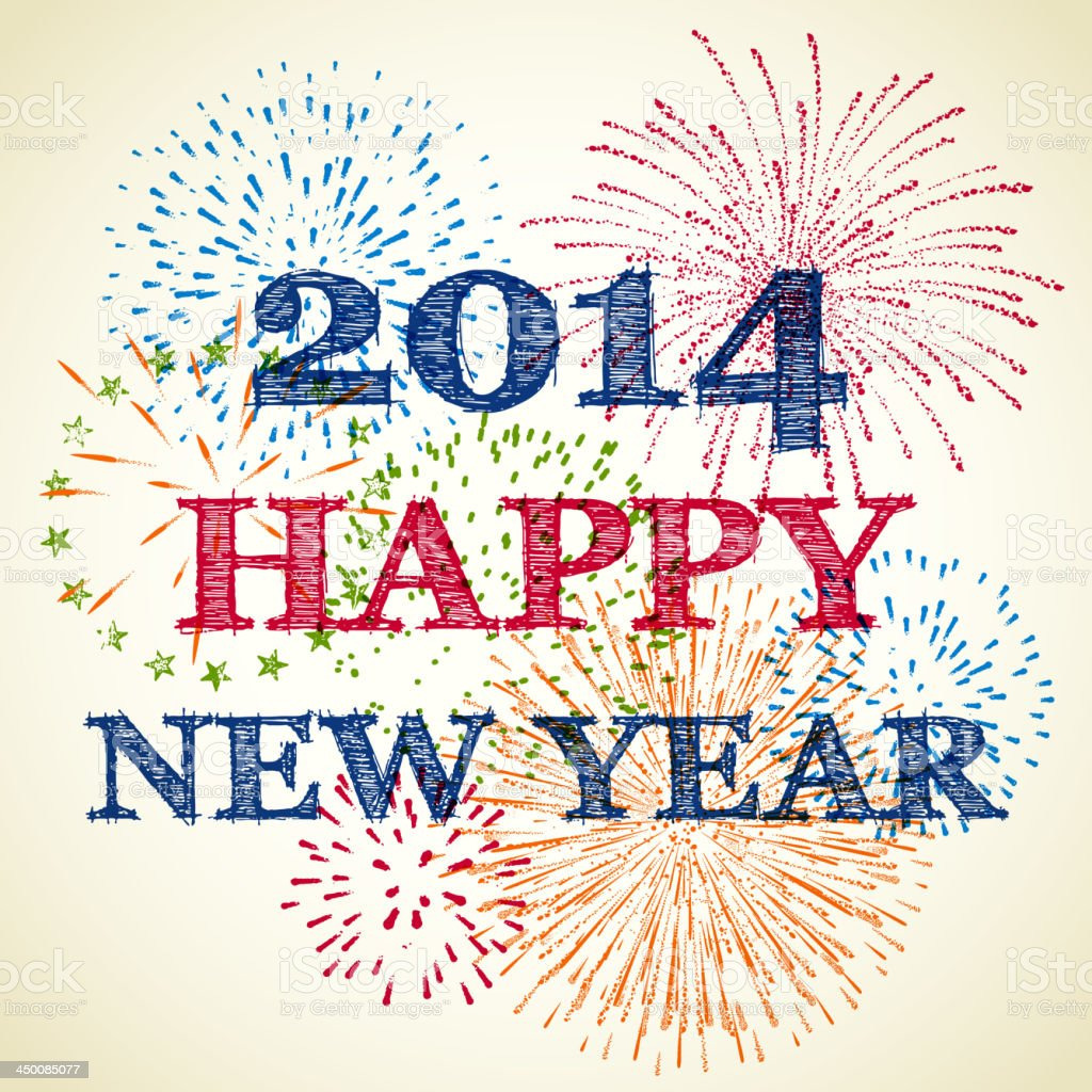 New Year's Fireworks Drawing vector art illustration