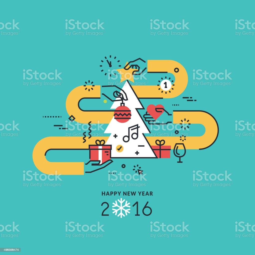 Año nuevo concepto de diseño línea plana para tarjeta de felicitación illustracion libre de derechos libre de derechos