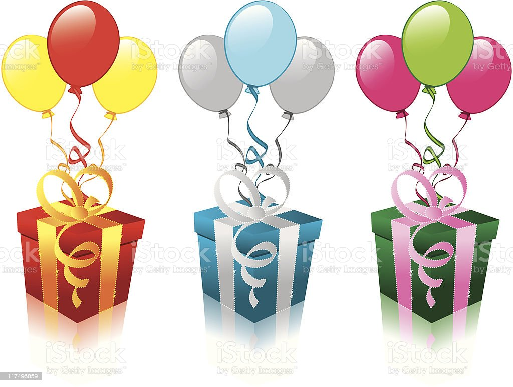 new years gifts with balloons royalty-free stock vector art