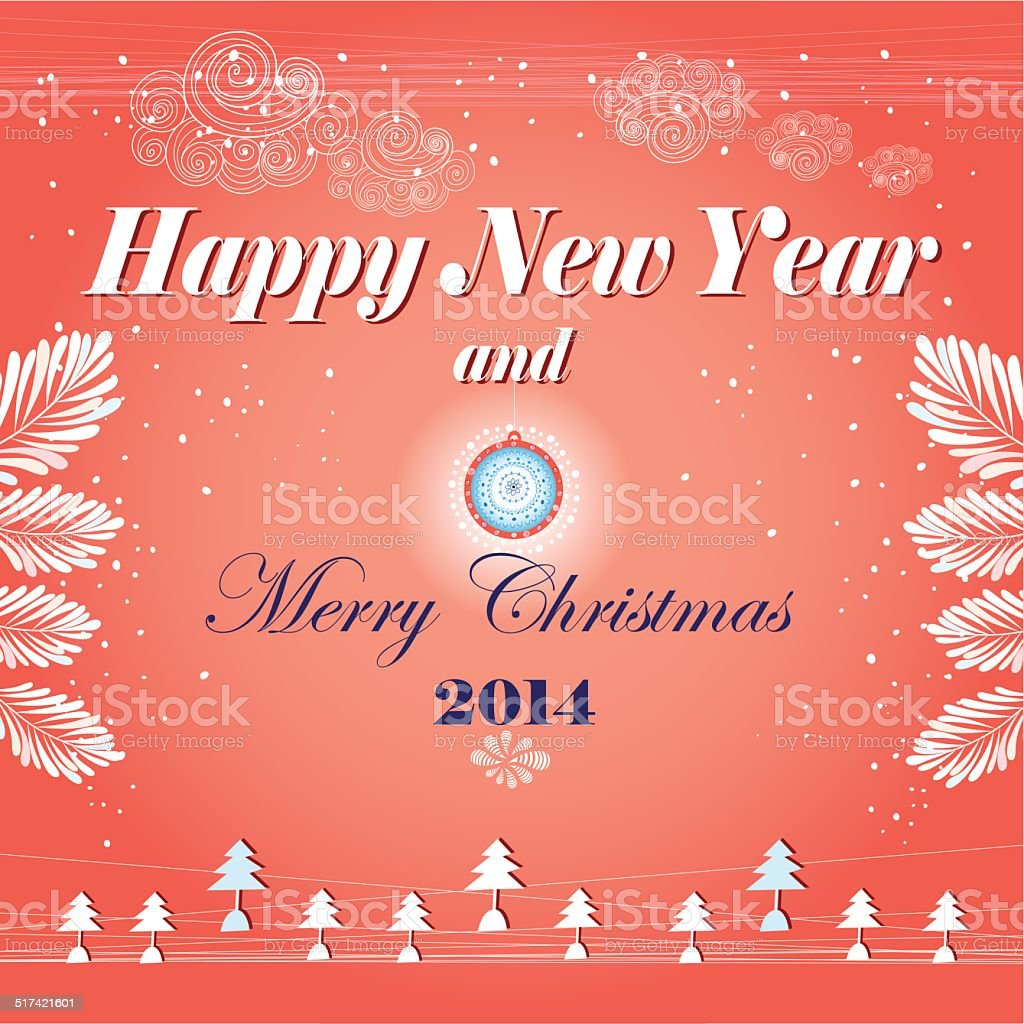 New Year's greeting card with vector art illustration