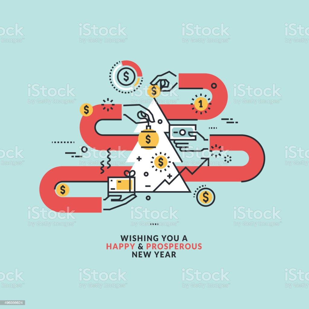 New Year's bienvenida en el tema de negocios. illustracion libre de derechos libre de derechos