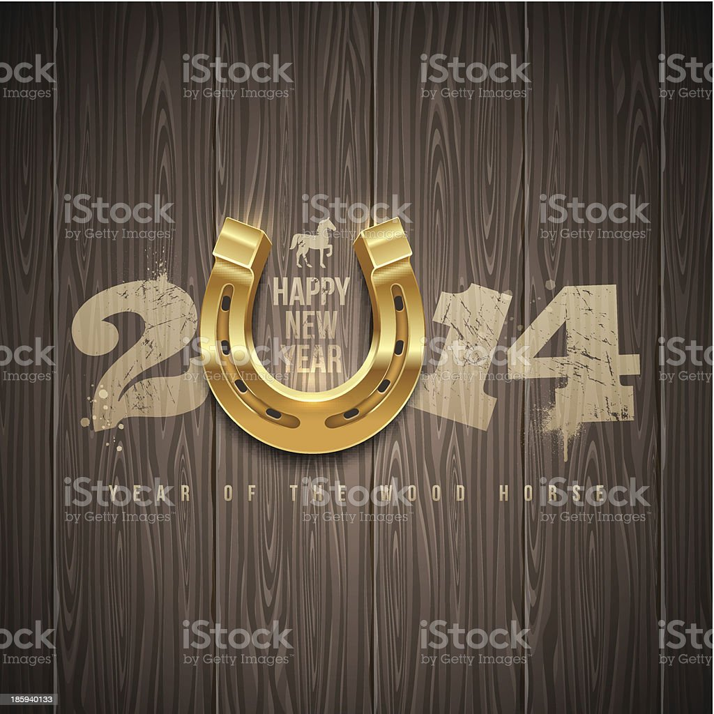 New years holidays design with painted numbers and horseshoe vector art illustration