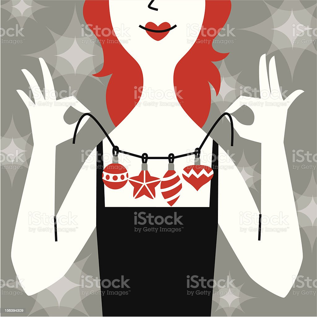 New Year's necklace. vector art illustration