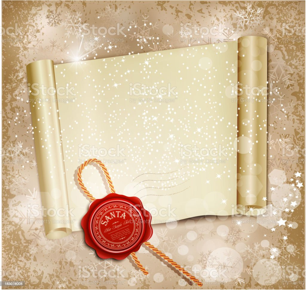New Year's scroll with the wax seal of Santa royalty-free stock vector art