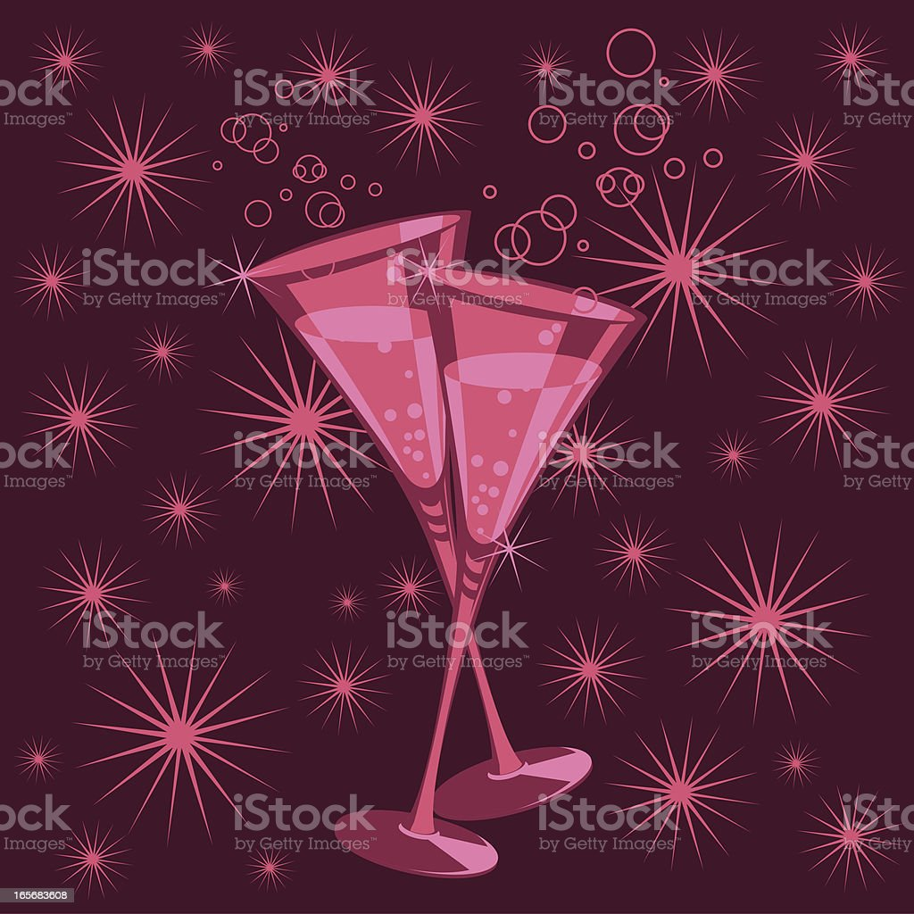 New Year's toast. vector art illustration