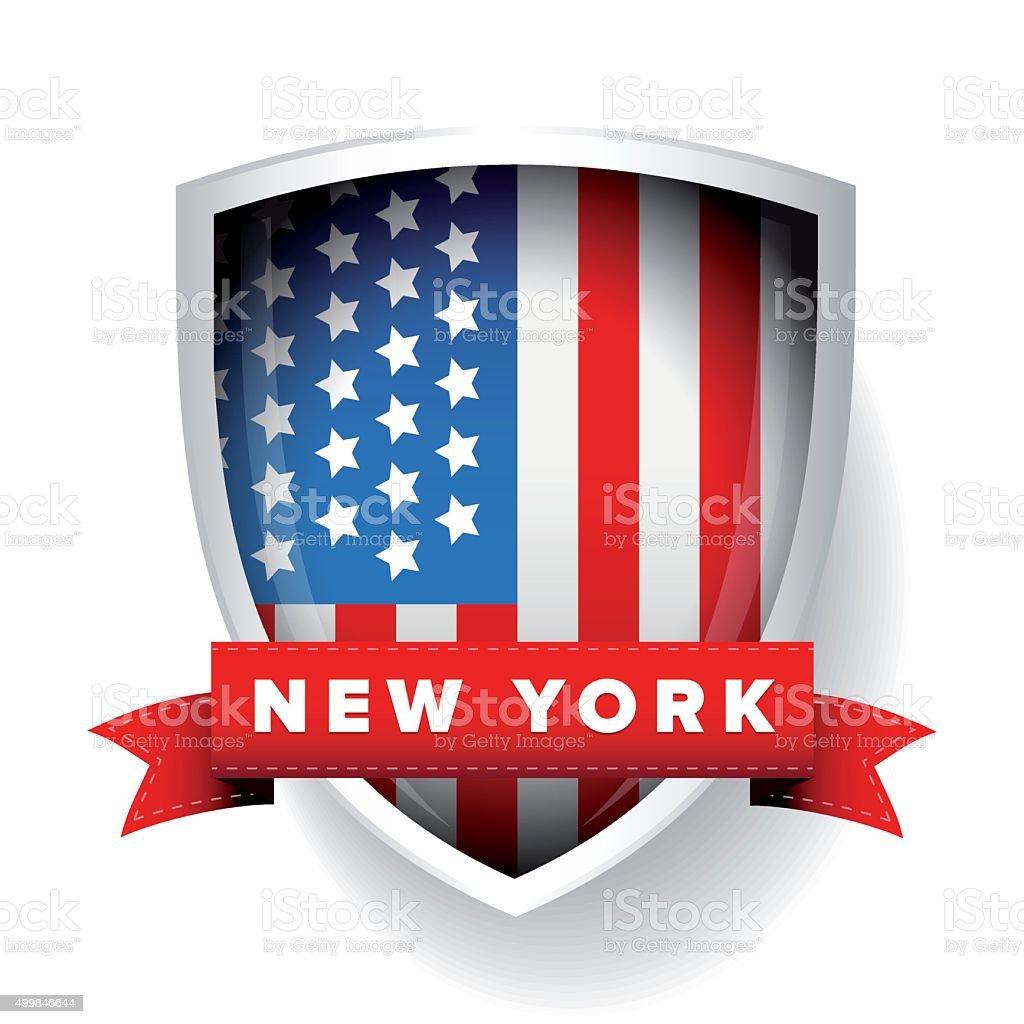 New York and USA flag vector vector art illustration