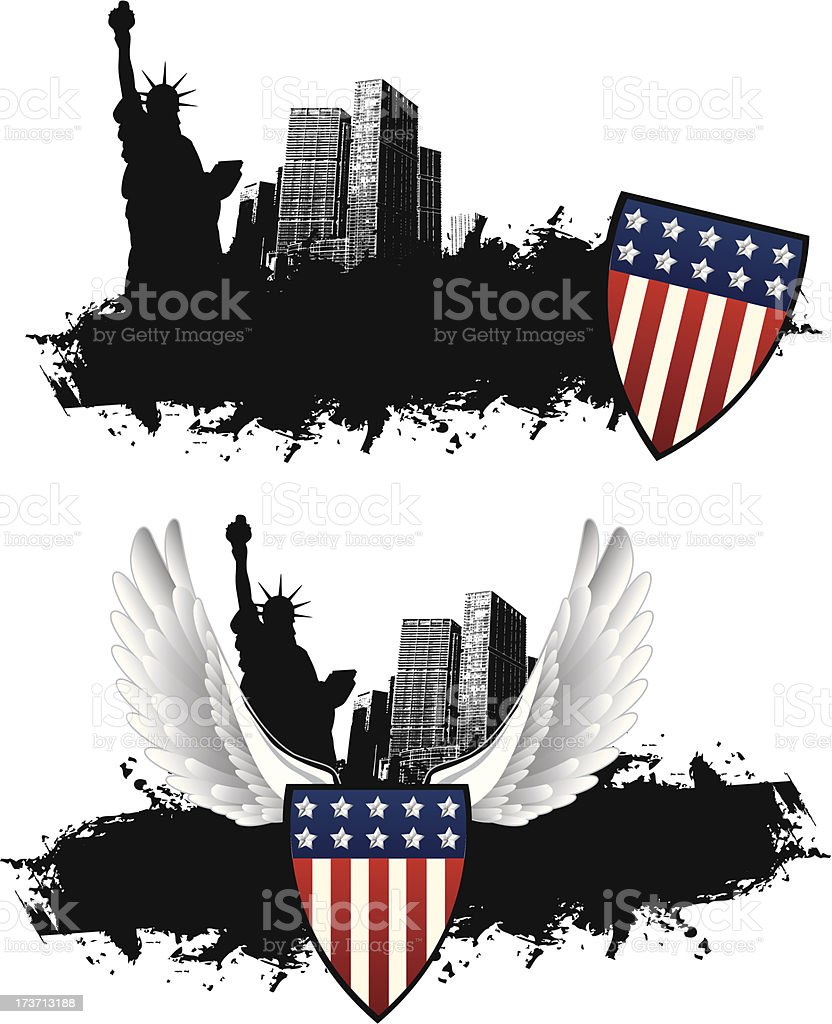 New York Banner with American Shield vector art illustration
