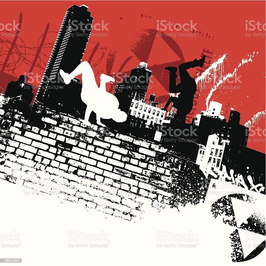 New York b-boys vector art illustration