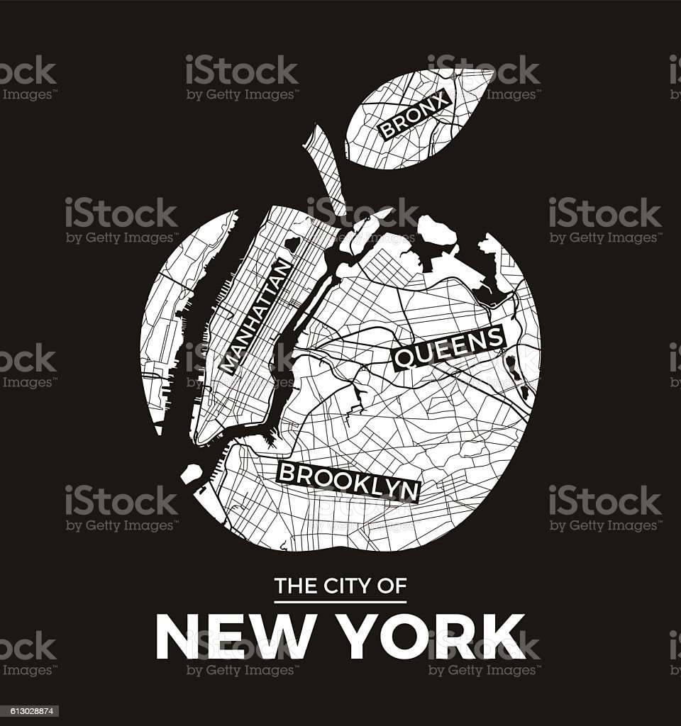 New York big apple t-shirt graphic design with city map. vector art illustration
