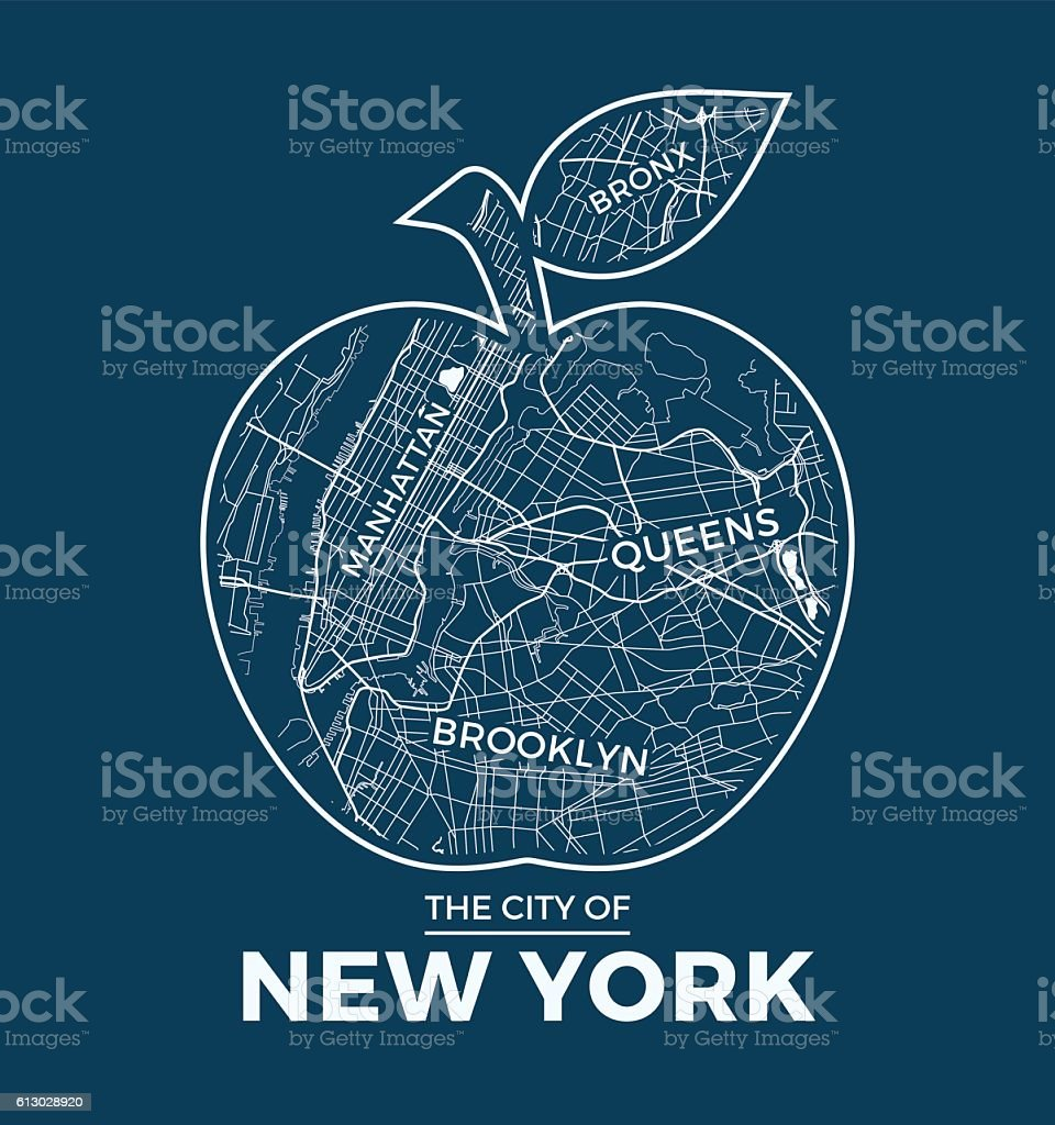 T shirt design queens ny - New York Big Apple T Shirt Graphic Design With City Map Vector Art Illustration