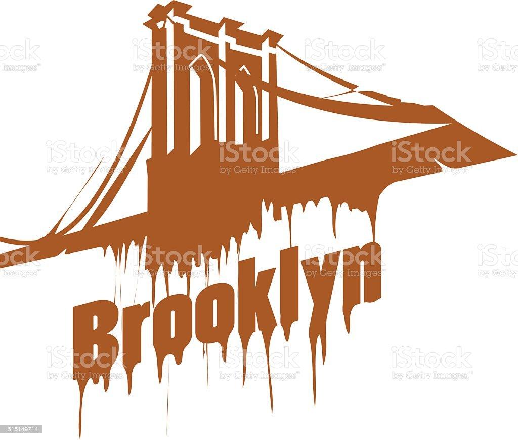 New York  Brooklyn Bridge Design emblem. Graffiti style vector art illustration