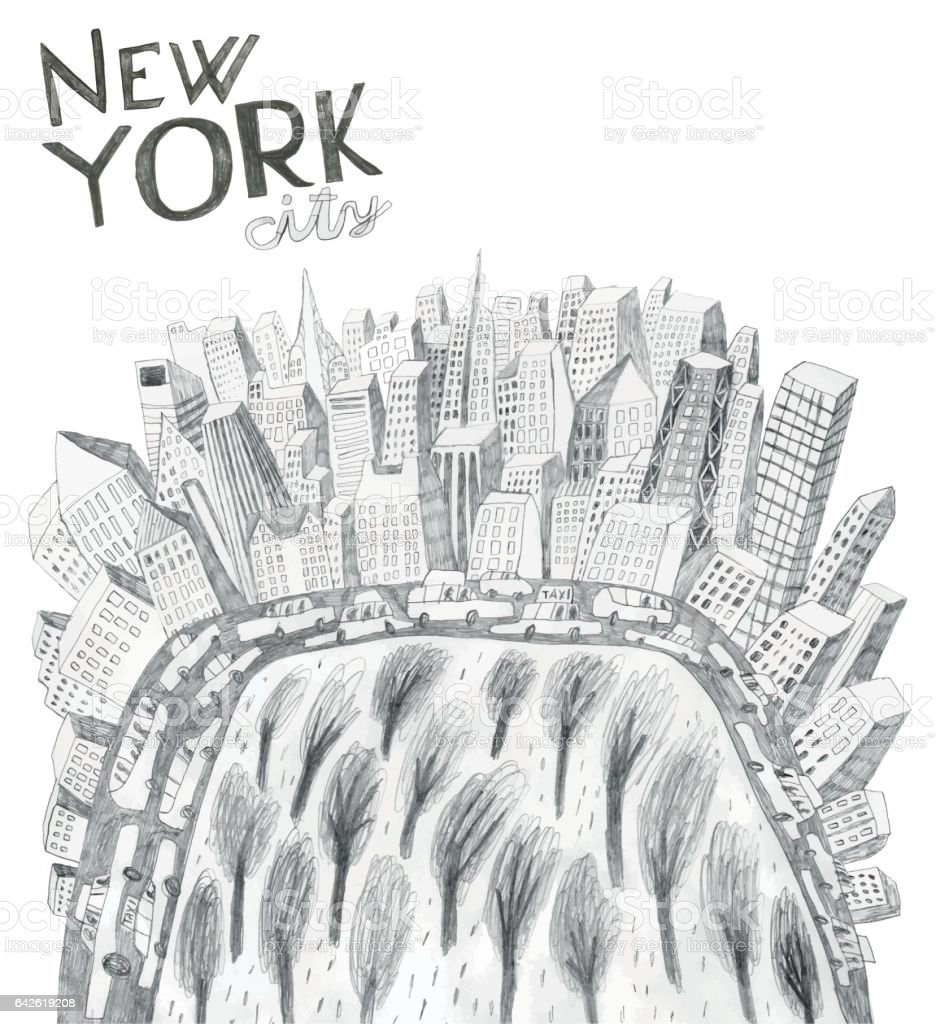 New York city and Central park vector art illustration