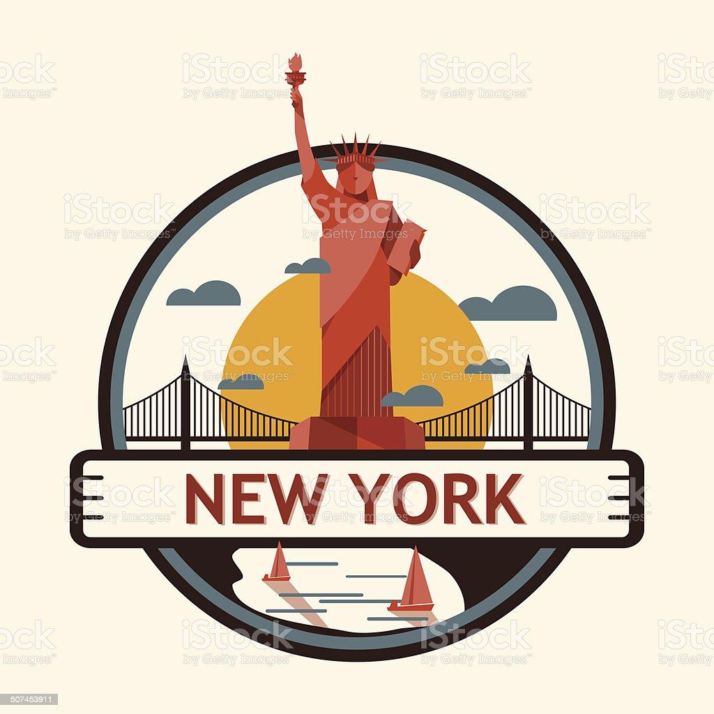 New york city badge, United state of America vector art illustration