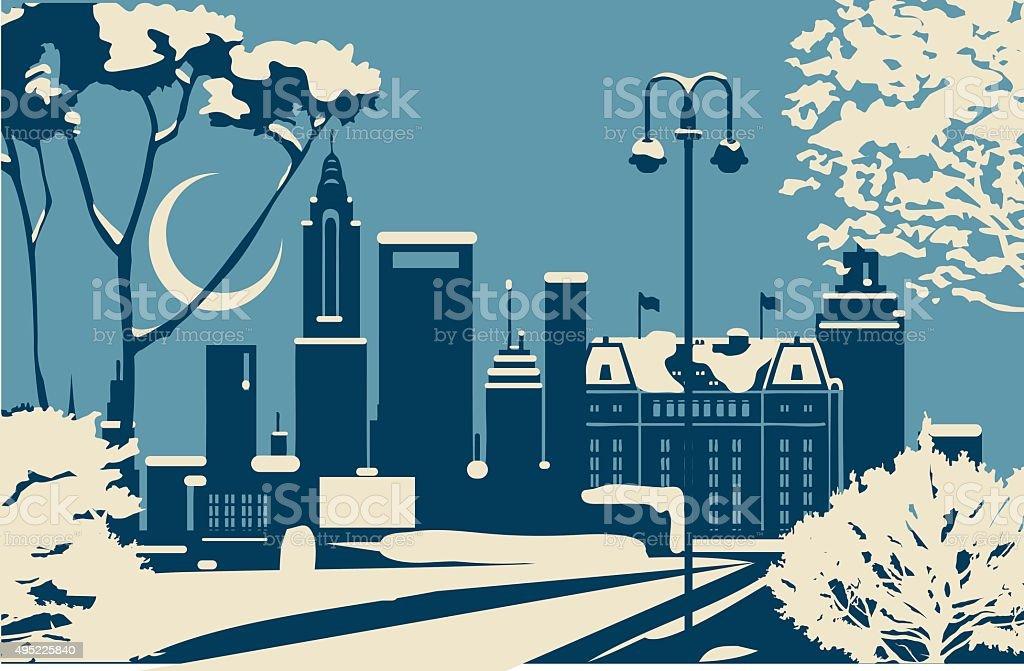 New york City Christmas skyline vector art illustration