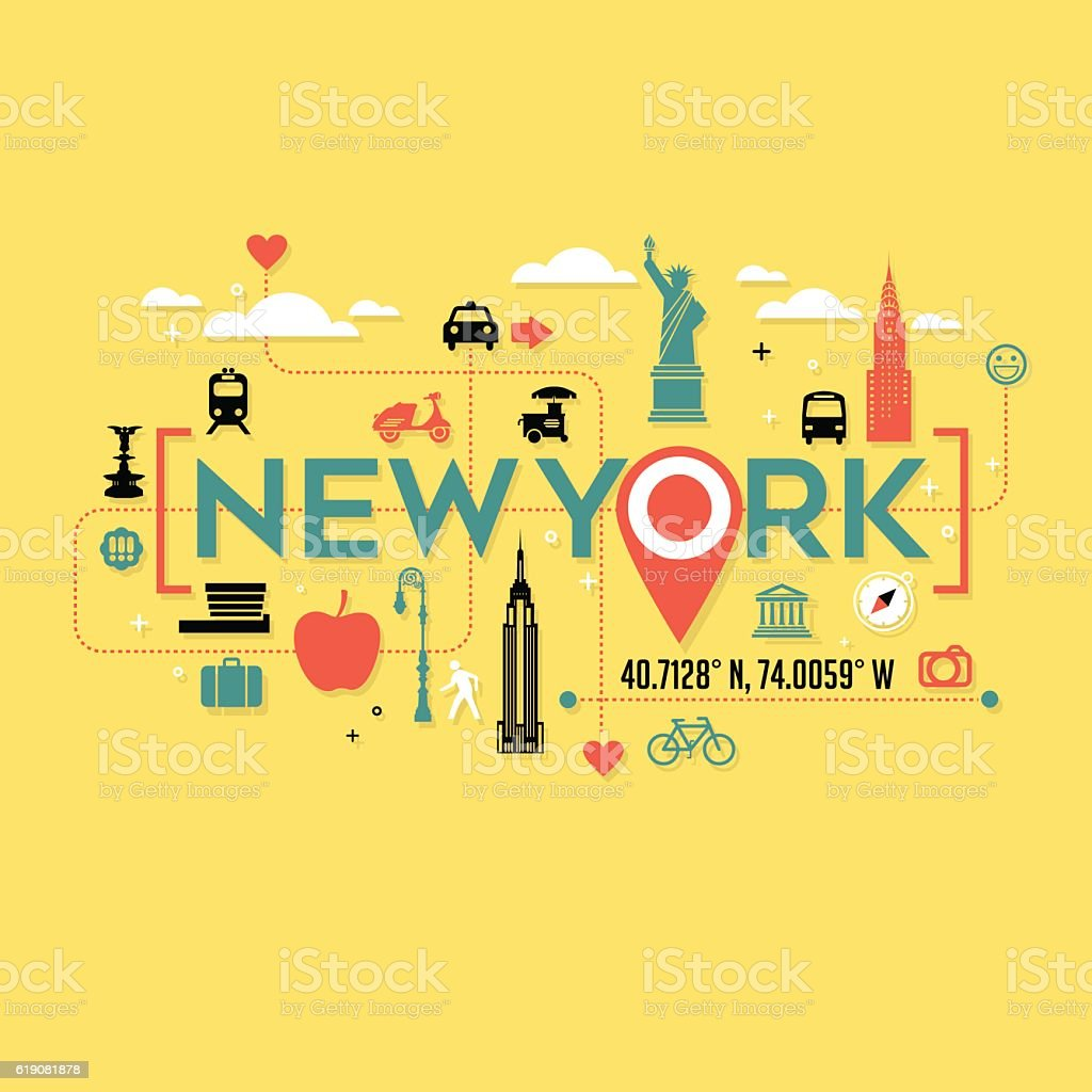 New York City icons and typography for cards, tshirts, postersnd vector art illustration