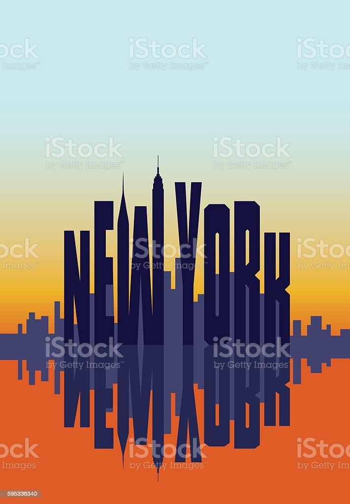 New York city in the morning sunrise poster. Travel card vector art illustration