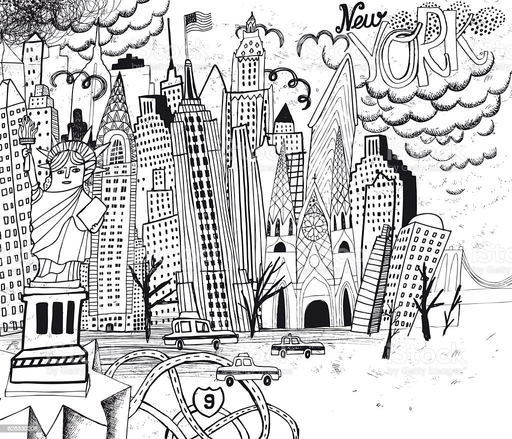 New York City line art coloring page vector art illustration