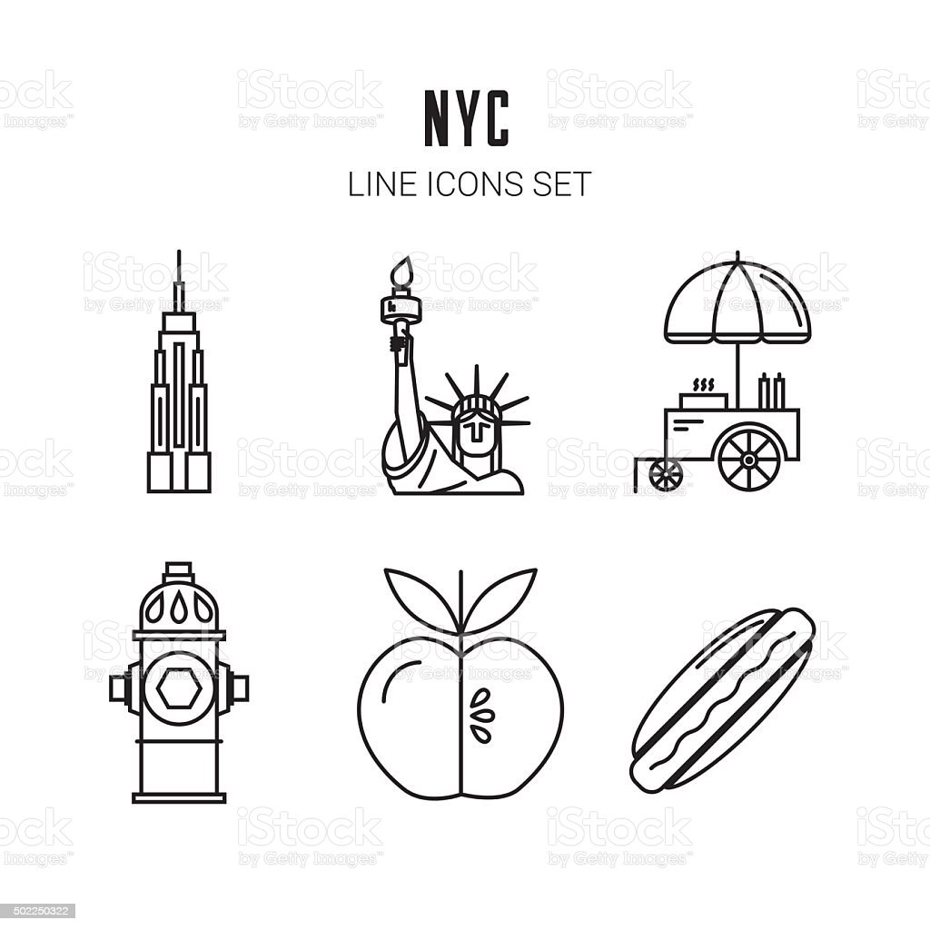 New York City. Line icons set. Vector vector art illustration