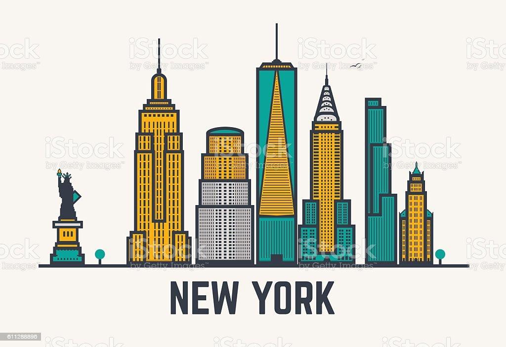 New York city lines vector art illustration